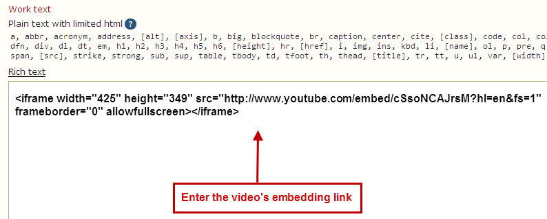Insert the video's embedding link