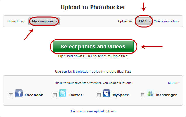 Photobucket's uploading interface with a 'Upload from' button on the top-left corner, a 'Upload to' button on the to-right corner and a 'Select photos and videos' button in the middle of the screen