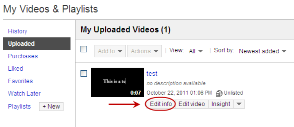 YouTube's My Uploaded Videos Interface