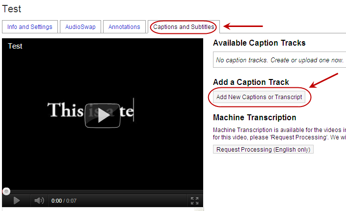 YouTube's Captions and Subtitles settings